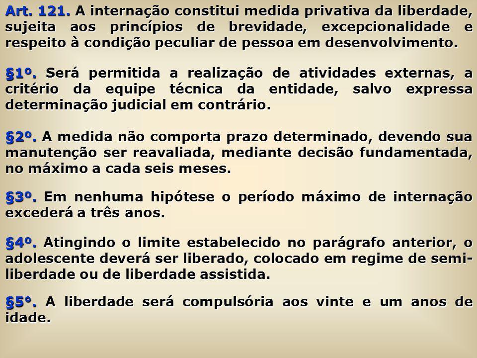 Art. 121. A internação constitui medida privativa da liberdade, sujeita aos princípios de brevidade, excepcionalidade e respeito à condição peculiar d