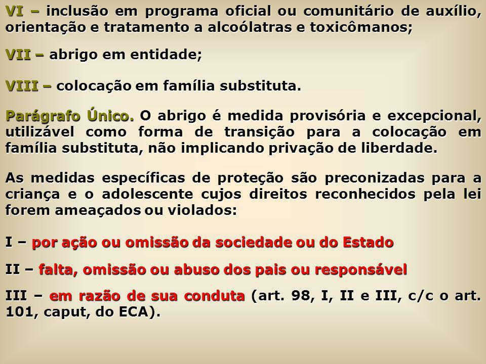 VI – inclusão em programa oficial ou comunitário de auxílio, orientação e tratamento a alcoólatras e toxicômanos; VII – abrigo em entidade; VIII – col