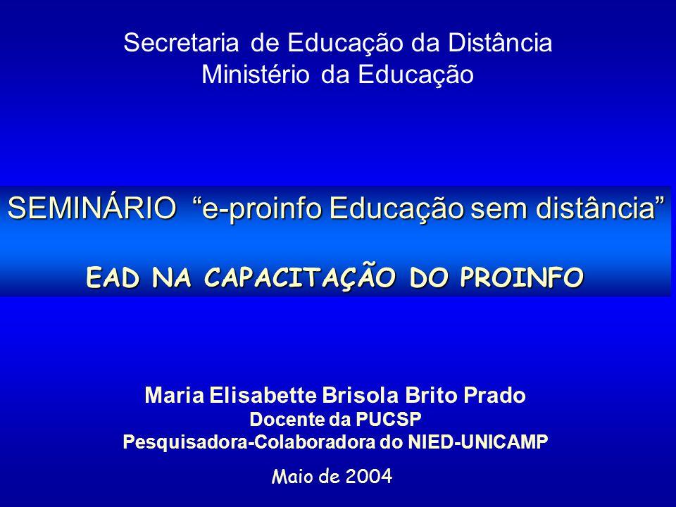 SEMINÁRIO e-proinfo Educação sem distância EAD NA CAPACITAÇÃO DO PROINFO Secretaria de Educação da Distância Ministério da Educação Maria Elisabette B