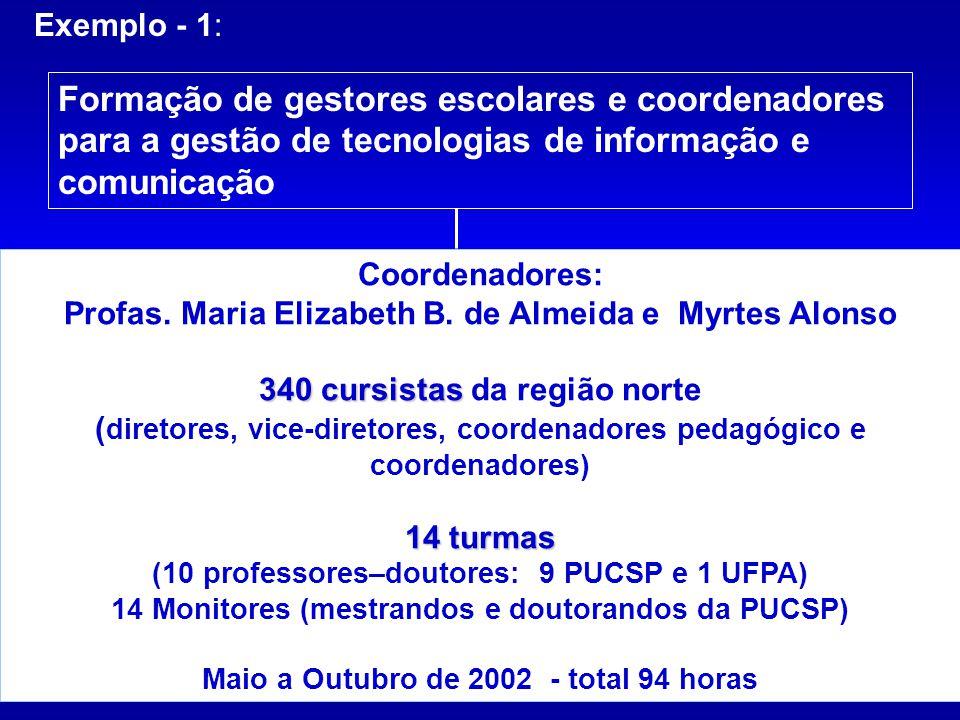 Exemplo - 1: Formação de gestores escolares e coordenadores para a gestão de tecnologias de informação e comunicação Coordenadores: Profas. Maria Eliz