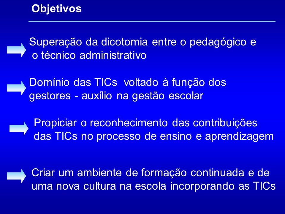 Superação da dicotomia entre o pedagógico e o técnico administrativo Domínio das TICs voltado à função dos gestores - auxílio na gestão escolar Propic
