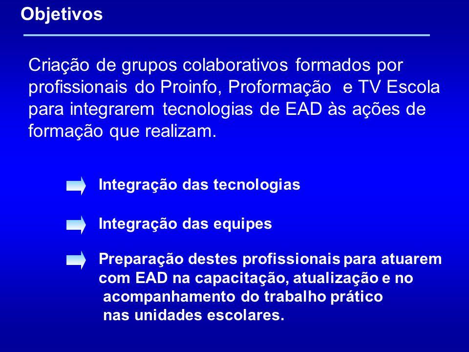 Criação de grupos colaborativos formados por profissionais do Proinfo, Proformação e TV Escola para integrarem tecnologias de EAD às ações de formação que realizam.