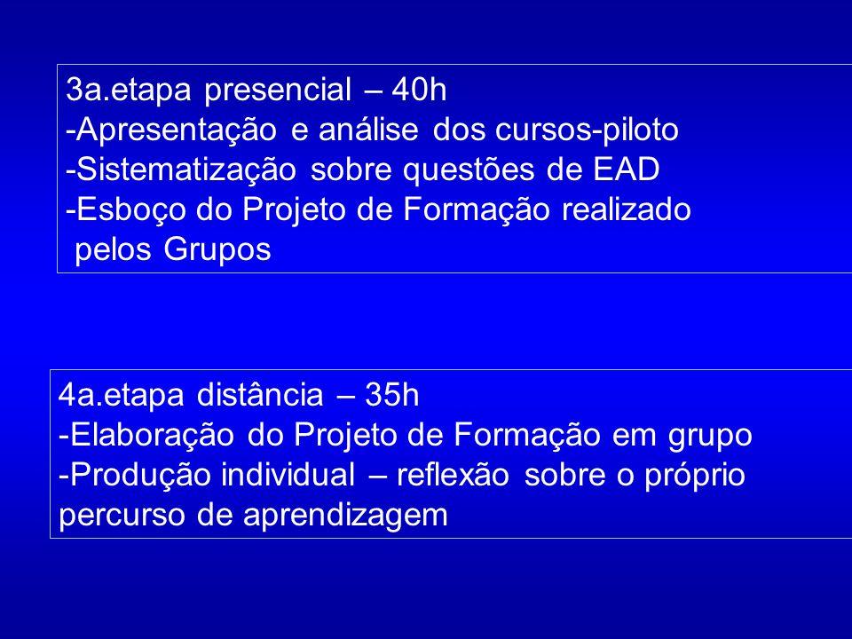 3a.etapa presencial – 40h -Apresentação e análise dos cursos-piloto -Sistematização sobre questões de EAD -Esboço do Projeto de Formação realizado pel