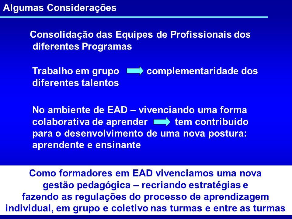 Algumas Considerações Consolidação das Equipes de Profissionais dos diferentes Programas Trabalho em grupo complementaridade dos diferentes talentos N