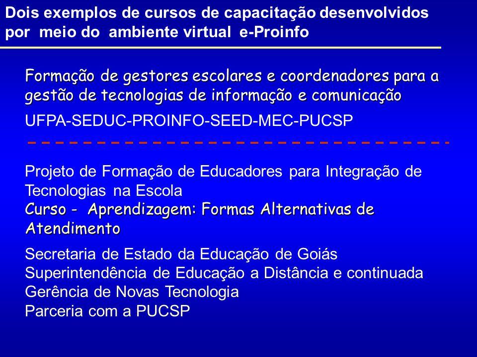 Dois exemplos de cursos de capacitação desenvolvidos por meio do ambiente virtual e-Proinfo Formação de gestores escolares e coordenadores para a gestão de tecnologias de informação e comunicação UFPA-SEDUC-PROINFO-SEED-MEC-PUCSP Projeto de Formação de Educadores para Integração de Tecnologias na Escola Curso - Aprendizagem: Formas Alternativas de Atendimento Secretaria de Estado da Educação de Goiás Superintendência de Educação a Distância e continuada Gerência de Novas Tecnologia Parceria com a PUCSP