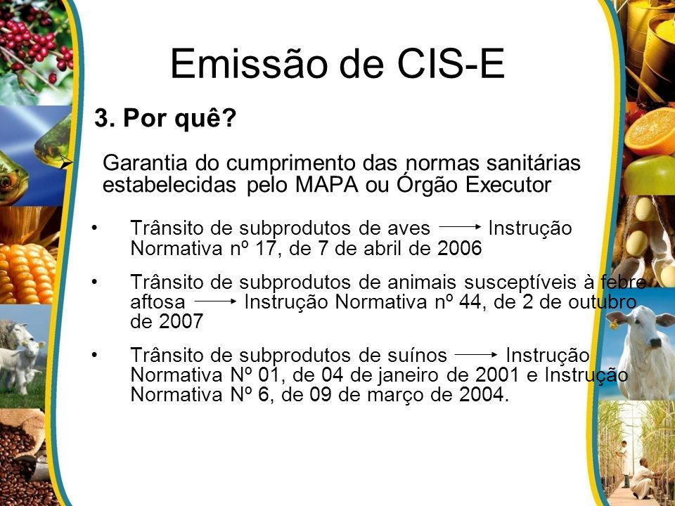 Emissão de CIS-E 3. Por quê? Garantia do cumprimento das normas sanitárias estabelecidas pelo MAPA ou Órgão Executor Trânsito de subprodutos de aves I