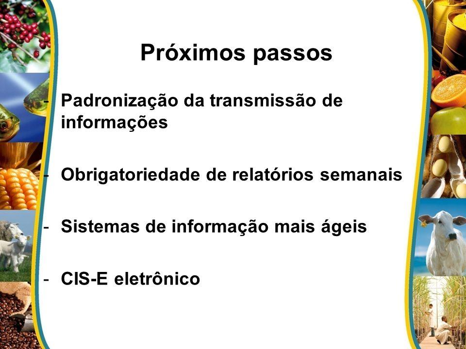 -Padronização da transmissão de informações -Obrigatoriedade de relatórios semanais -Sistemas de informação mais ágeis -CIS-E eletrônico Próximos pass