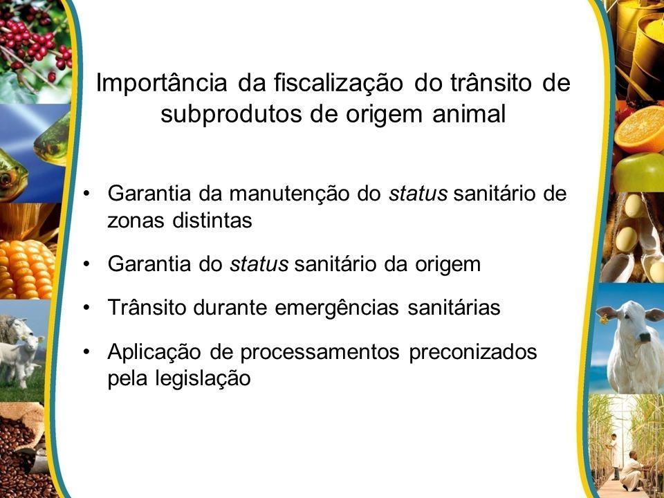 Importância da fiscalização do trânsito de subprodutos de origem animal Garantia da manutenção do status sanitário de zonas distintas Garantia do status sanitário da origem Trânsito durante emergências sanitárias Aplicação de processamentos preconizados pela legislação