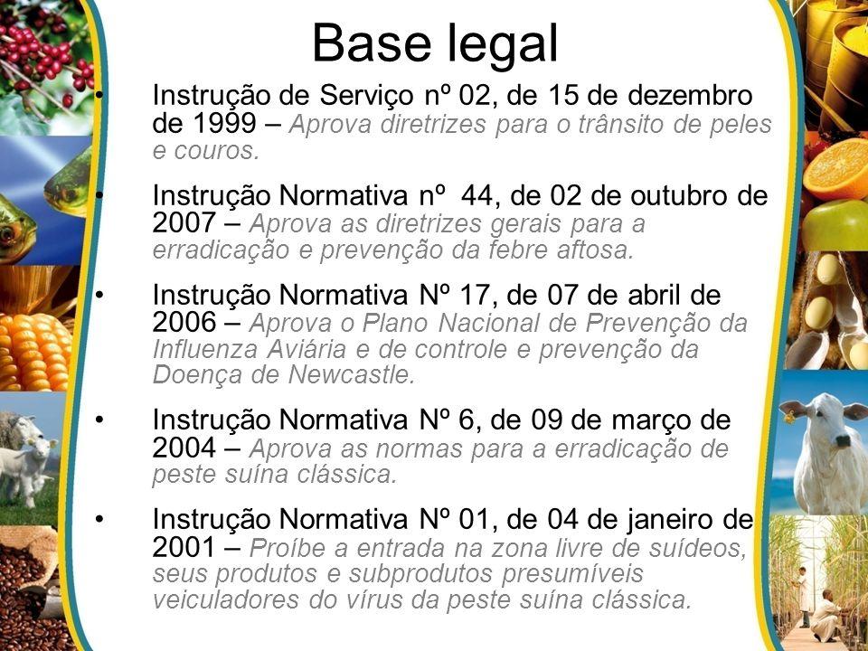 Base legal Instrução de Serviço nº 02, de 15 de dezembro de 1999 – Aprova diretrizes para o trânsito de peles e couros. Instrução Normativa nº 44, de