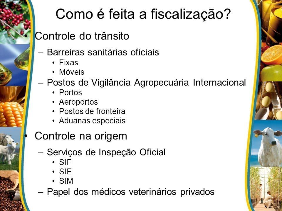 Como é feita a fiscalização? Controle do trânsito –Barreiras sanitárias oficiais Fixas Móveis –Postos de Vigilância Agropecuária Internacional Portos