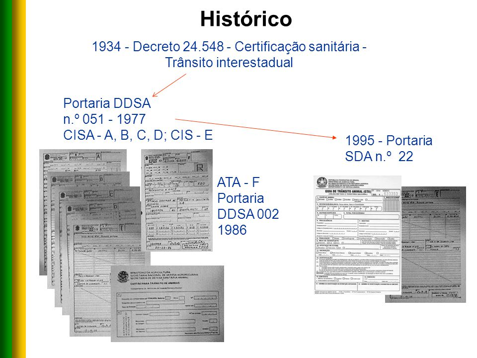 1934 - Decreto 24.548 - Certificação sanitária - Trânsito interestadual 1995 - Portaria SDA n.º 22 ATA - F Portaria DDSA 002 1986 Portaria DDSA n.º 051 - 1977 CISA - A, B, C, D; CIS - E Histórico