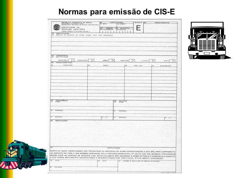 Normas para emissão de CIS-E