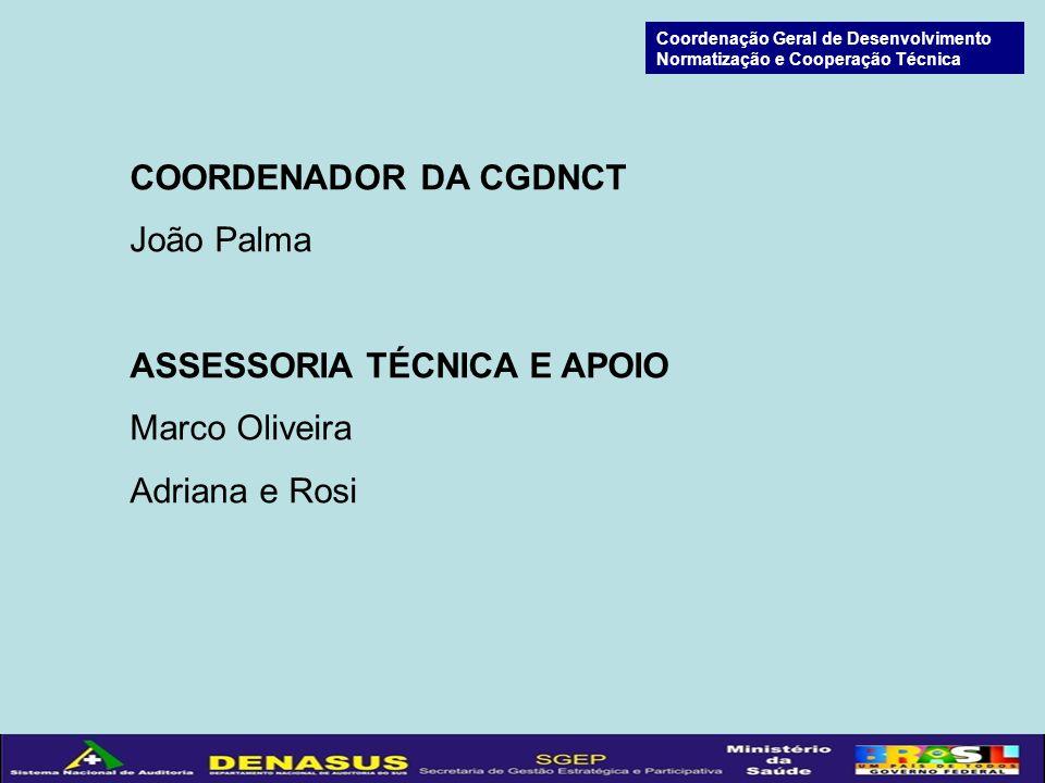 COORDENADOR DA CGDNCT João Palma ASSESSORIA TÉCNICA E APOIO Marco Oliveira Adriana e Rosi Coordenação Geral de Desenvolvimento Normatização e Cooperação Técnica