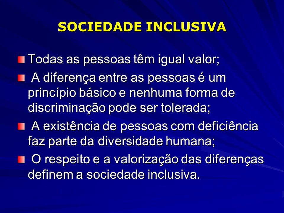 SOCIEDADE INCLUSIVA Todas as pessoas têm igual valor; A diferença entre as pessoas é um princípio básico e nenhuma forma de discriminação pode ser tol