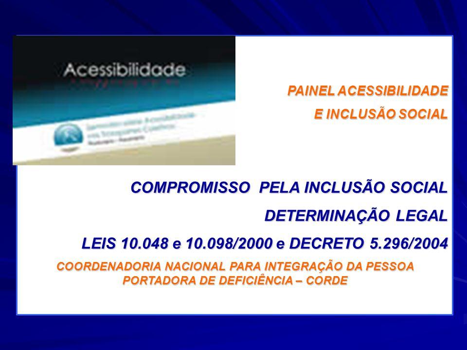 PAINEL ACESSIBILIDADE E INCLUSÃO SOCIAL COMPROMISSO PELA INCLUSÃO SOCIAL DETERMINAÇÃO LEGAL LEIS 10.048 e 10.098/2000 e DECRETO 5.296/2004 COORDENADOR