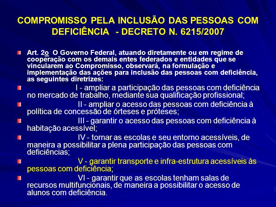 COMPROMISSO PELA INCLUSÃO DAS PESSOAS COM DEFICIÊNCIA - DECRETO N. 6215/2007 Art. 2o O Governo Federal, atuando diretamente ou em regime de cooperação