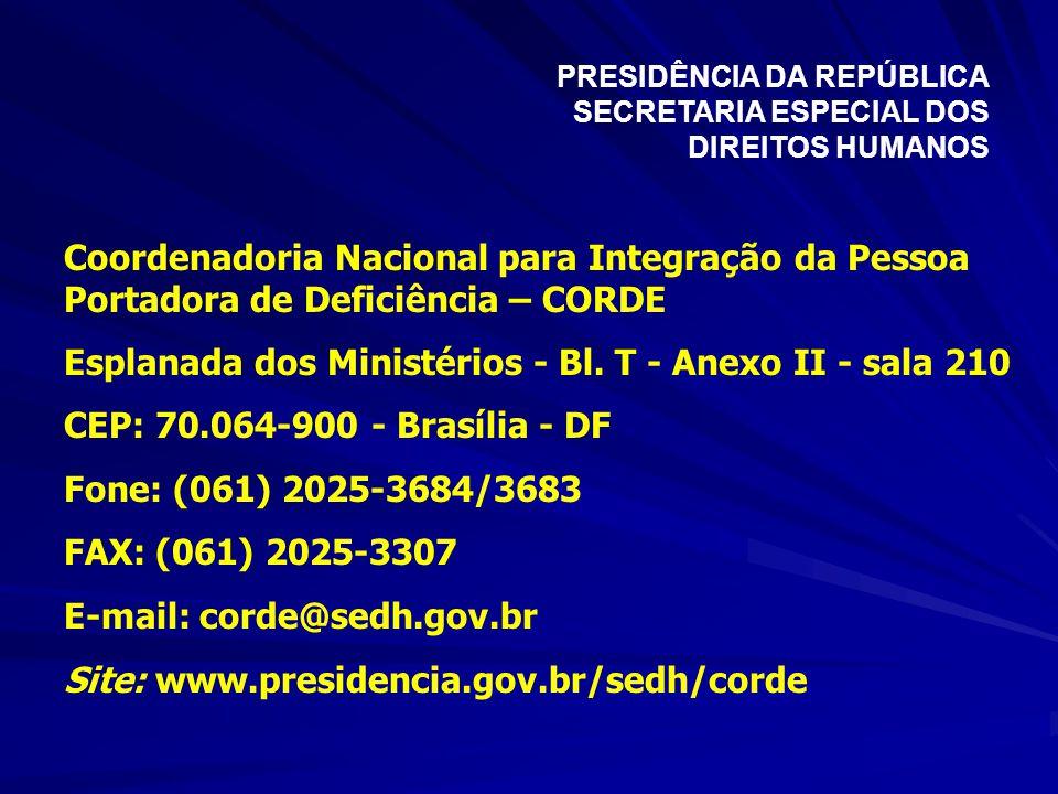 Coordenadoria Nacional para Integração da Pessoa Portadora de Deficiência – CORDE Esplanada dos Ministérios - Bl. T - Anexo II - sala 210 CEP: 70.064-