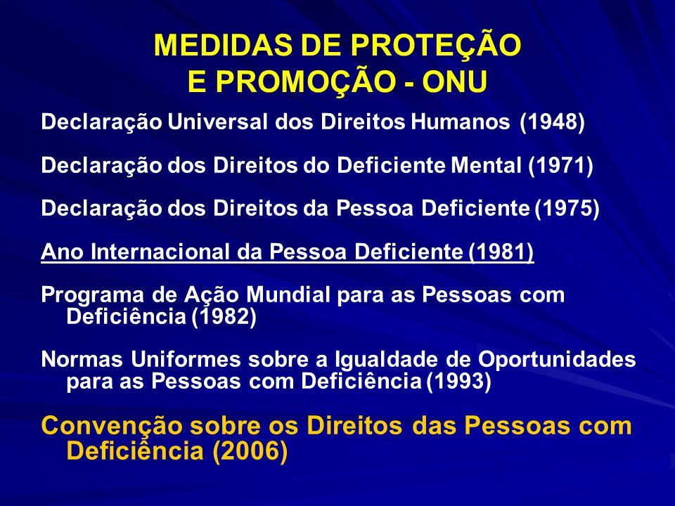 MEDIDAS DE PROTEÇÃO E PROMOÇÃO - ONU Declaração Universal dos Direitos Humanos (1948) Declaração dos Direitos do Deficiente Mental (1971) Declaração d