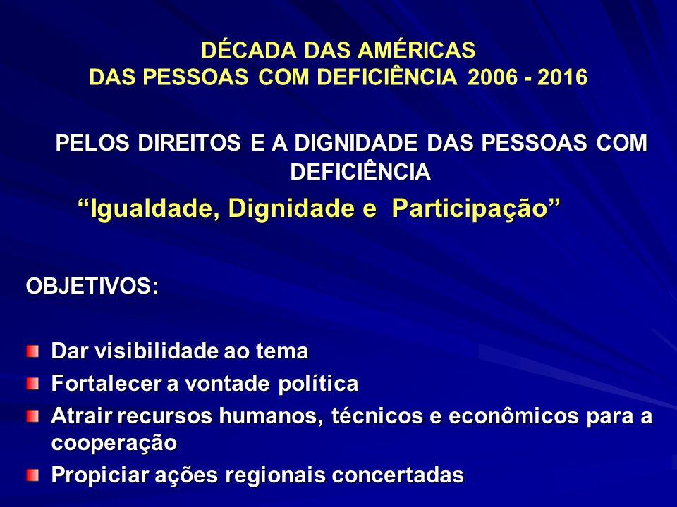 DÉCADA DAS AMÉRICAS DAS PESSOAS COM DEFICIÊNCIA 2006 - 2016 PELOS DIREITOS E A DIGNIDADE DAS PESSOAS COM DEFICIÊNCIA PELOS DIREITOS E A DIGNIDADE DAS