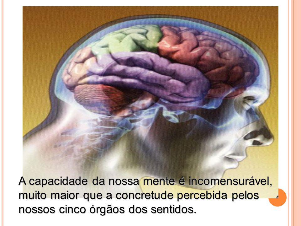 A capacidade da nossa mente é incomensurável, muito maior que a concretude percebida pelos nossos cinco órgãos dos sentidos. A capacidade da nossa men