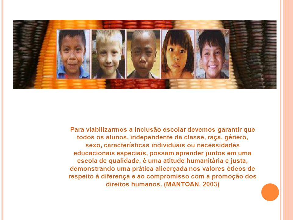 Para viabilizarmos a inclusão escolar devemos garantir que todos os alunos, independente da classe, raça, gênero, sexo, características individuais ou
