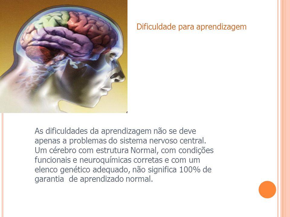 As dificuldades da aprendizagem não se deve apenas a problemas do sistema nervoso central, um cérebro com estrutura Normal, com condições funcionais e