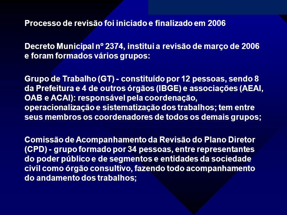 Campanha da Fraternidade 2011 Processo de revisão foi iniciado e finalizado em 2006 Decreto Municipal nº 2374, institui a revisão de março de 2006 e f