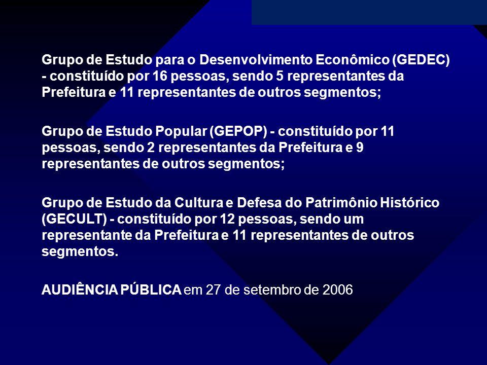 Campanha da Fraternidade 2011 Grupo de Estudo para o Desenvolvimento Econômico (GEDEC) - constituído por 16 pessoas, sendo 5 representantes da Prefeit