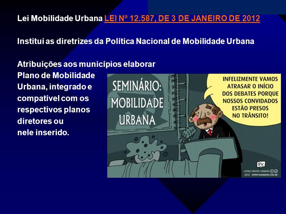 Campanha da Fraternidade 2011 Lei Mobilidade Urbana LEI Nº 12.587, DE 3 DE JANEIRO DE 2012LEI Nº 12.587, DE 3 DE JANEIRO DE 2012 Institui as diretrize