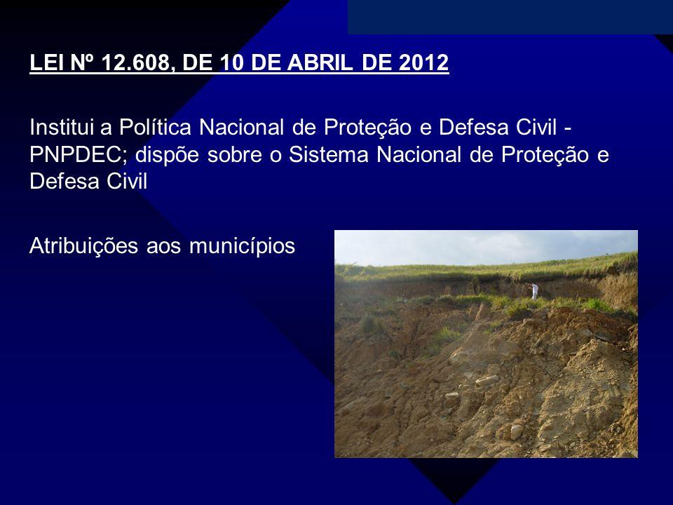 Campanha da Fraternidade 2011 LEI Nº 12.608, DE 10 DE ABRIL DE 2012 Institui a Política Nacional de Proteção e Defesa Civil - PNPDEC; dispõe sobre o S