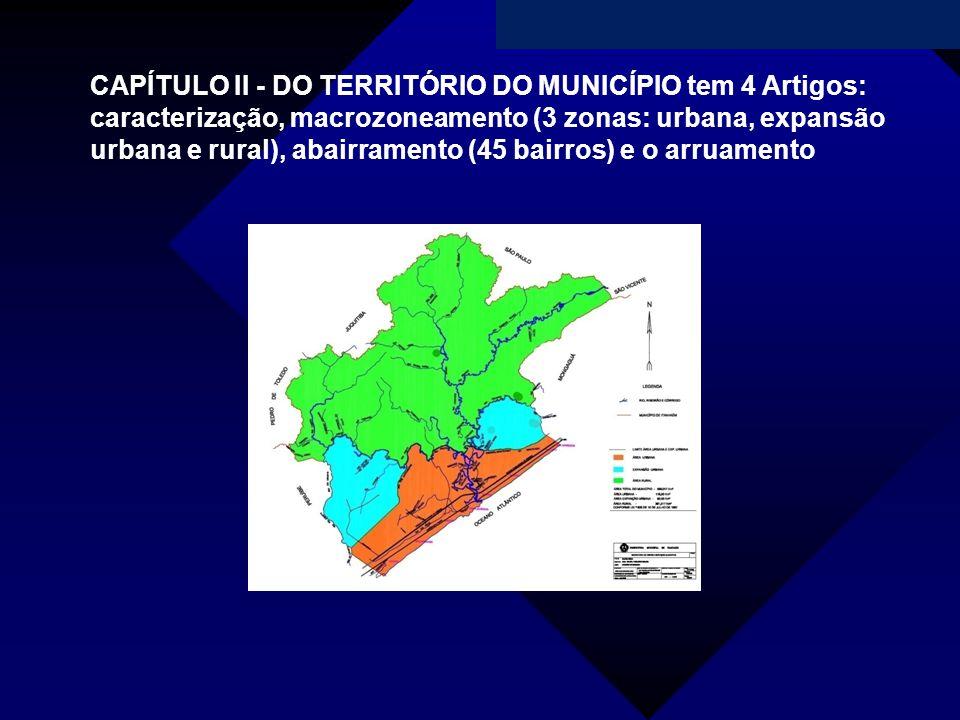 Campanha da Fraternidade 2011 CAPÍTULO II - DO TERRITÓRIO DO MUNICÍPIO tem 4 Artigos: caracterização, macrozoneamento (3 zonas: urbana, expansão urban