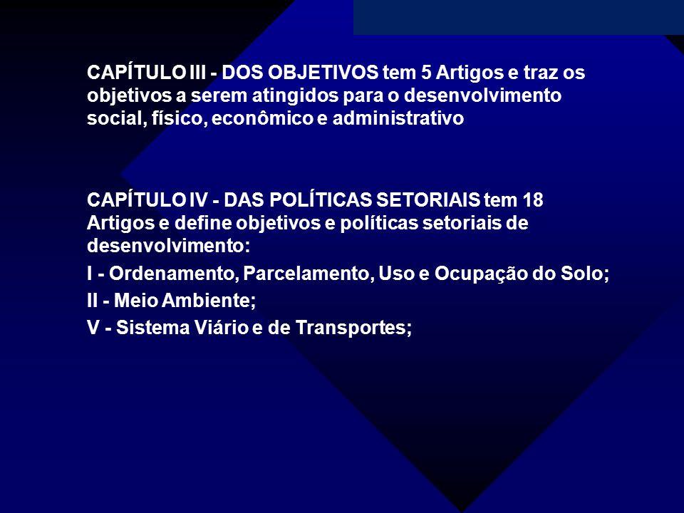 CAPÍTULO III - DOS OBJETIVOS tem 5 Artigos e traz os objetivos a serem atingidos para o desenvolvimento social, físico, econômico e administrativo CAP