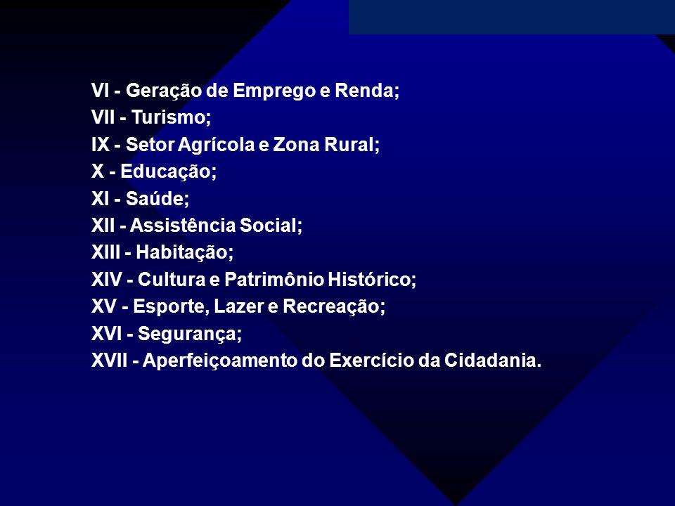 Campanha da Fraternidade 2011 VI - Geração de Emprego e Renda; VII - Turismo; IX - Setor Agrícola e Zona Rural; X - Educação; XI - Saúde; XII - Assist