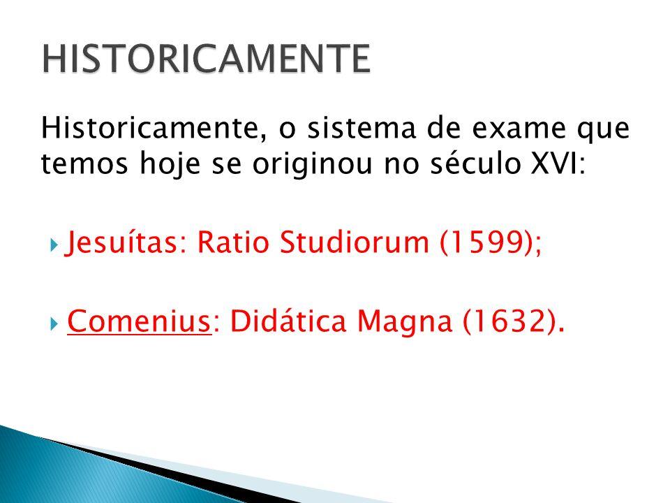 Historicamente, o sistema de exame que temos hoje se originou no século XVI: Jesuítas: Ratio Studiorum (1599); Comenius: Didática Magna (1632).