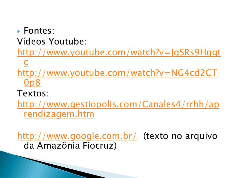 Fontes: Vídeos Youtube: http://www.youtube.com/watch?v=JqSRs9Hqgt c http://www.youtube.com/watch?v=NG4cd2CT 0p8 Textos: http://www.gestiopolis.com/Can