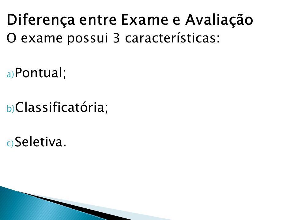 Diferença entre Exame e Avaliação O exame possui 3 características: a) Pontual; b) Classificatória; c) Seletiva.