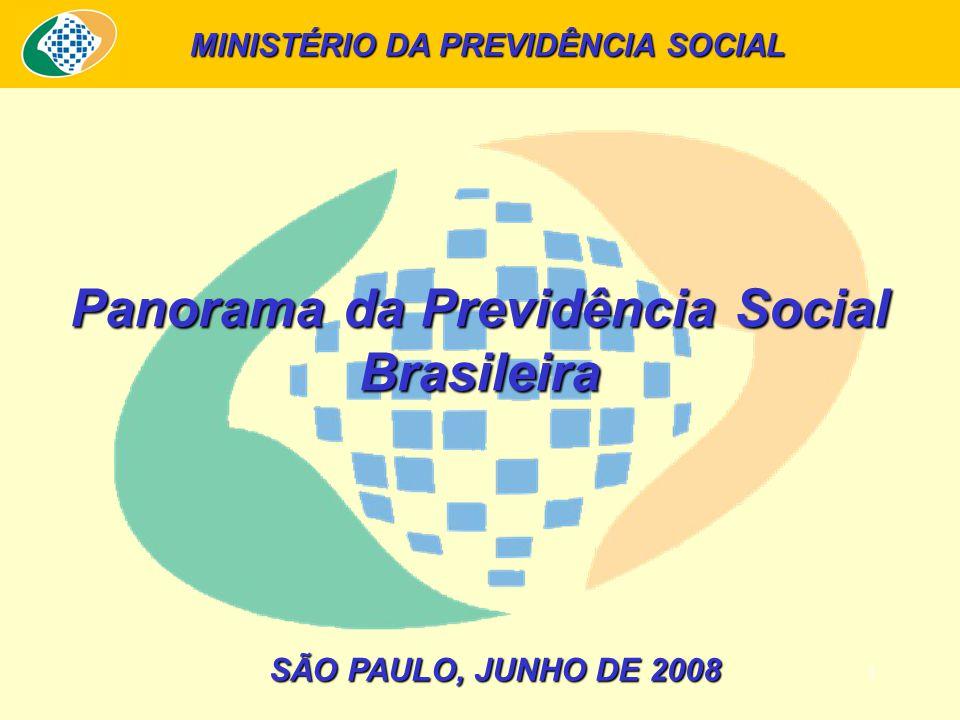 1 SÃO PAULO, JUNHO DE 2008 Panorama da Previdência Social Brasileira MINISTÉRIO DA PREVIDÊNCIA SOCIAL