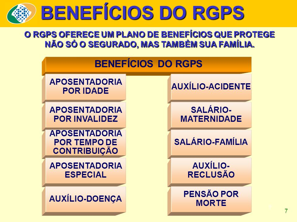 7 BENEFÍCIOS DO RGPS O RGPS OFERECE UM PLANO DE BENEFÍCIOS QUE PROTEGE NÃO SÓ O SEGURADO, MAS TAMBÉM SUA FAMÍLIA.