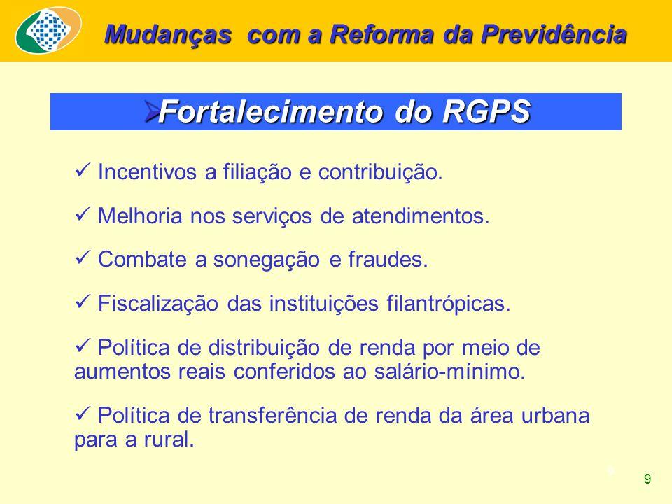 9 Fortalecimento do RGPS Fortalecimento do RGPS Mudanças com a Reforma da Previdência Incentivos a filiação e contribuição. Melhoria nos serviços de a