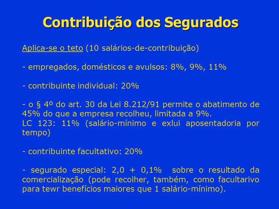 Contribuição dos Segurados Aplica-se o teto (10 salários-de-contribuição) - empregados, domésticos e avulsos: 8%, 9%, 11% - contribuinte individual: 2