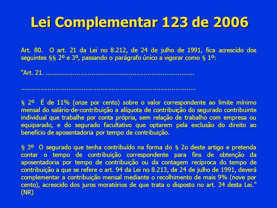 Lei Complementar 123 de 2006 Art. 80. O art. 21 da Lei no 8.212, de 24 de julho de 1991, fica acrescido dos seguintes §§ 2º e 3º, passando o parágrafo