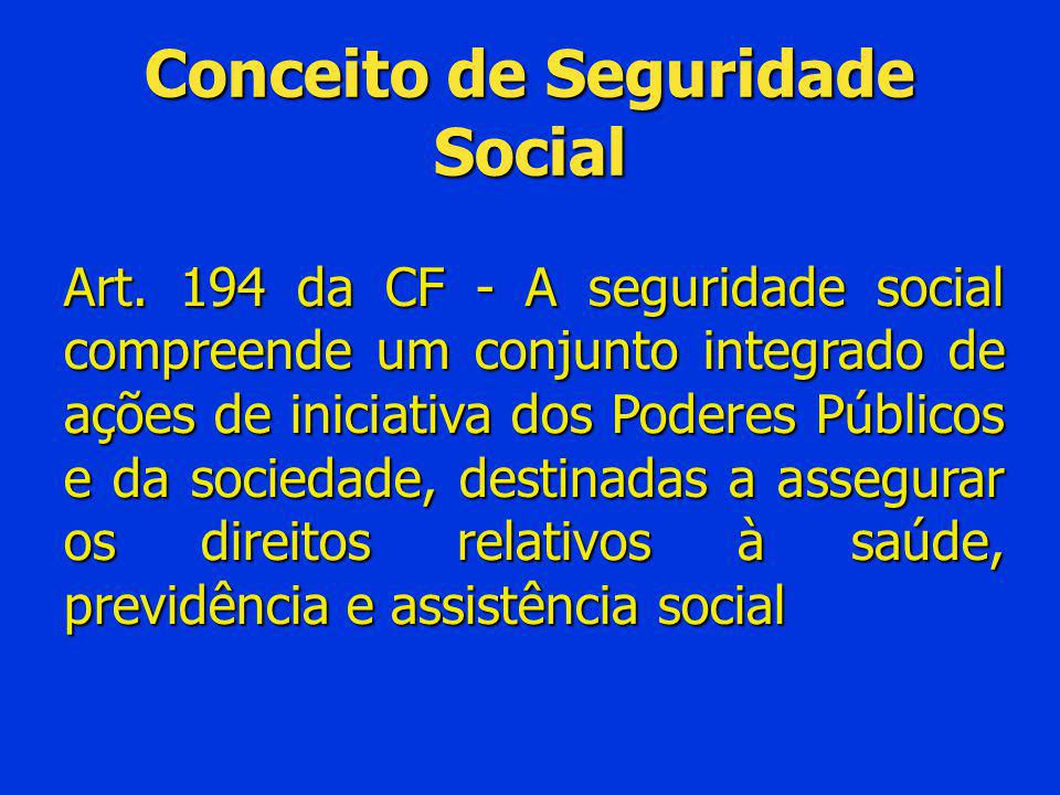 Conceito de Seguridade Social Art. 194 da CF - A seguridade social compreende um conjunto integrado de ações de iniciativa dos Poderes Públicos e da s