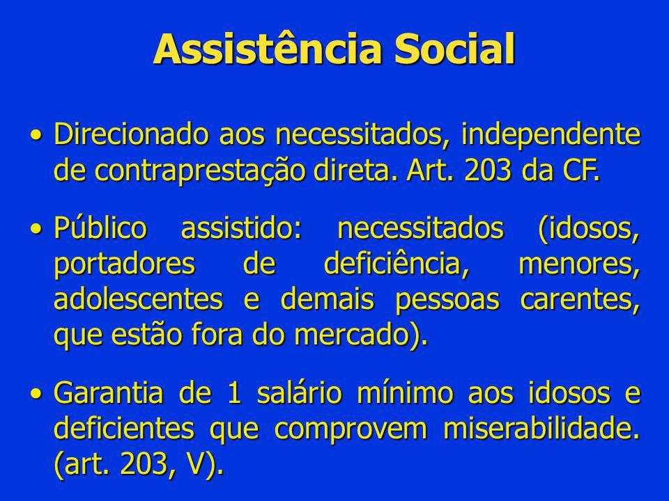 Assistência Social Direcionado aos necessitados, independente de contraprestação direta. Art. 203 da CF.Direcionado aos necessitados, independente de