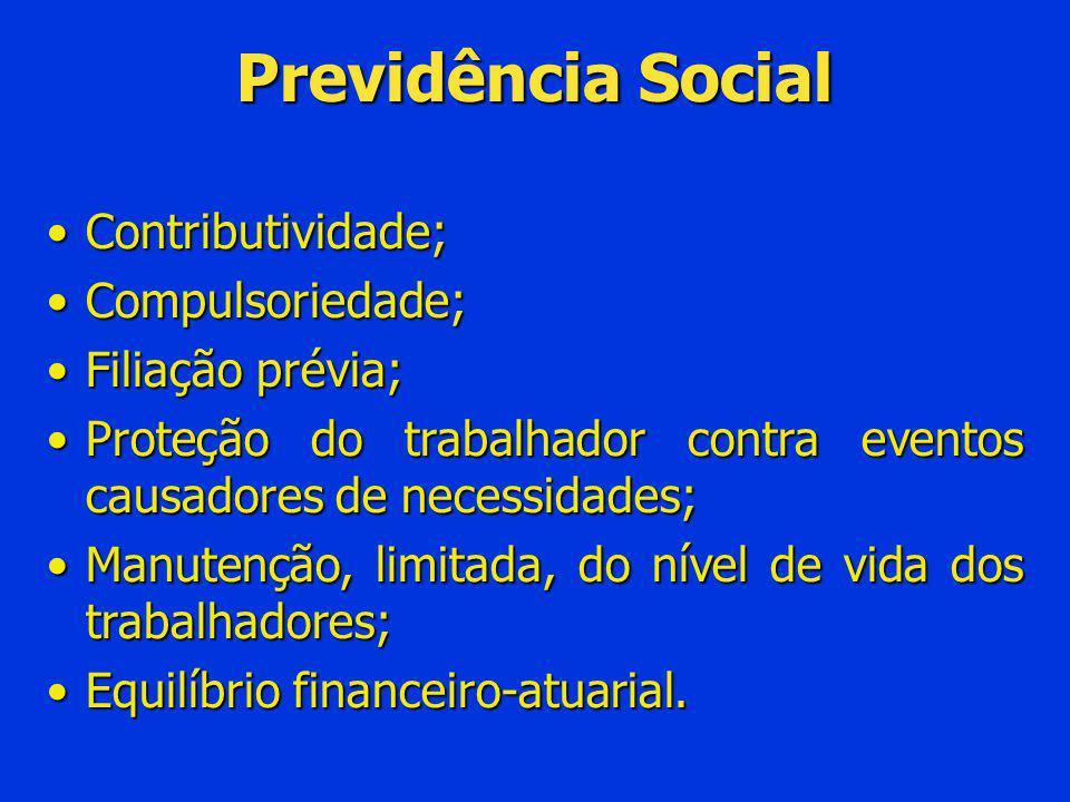 Previdência Social Contributividade;Contributividade; Compulsoriedade;Compulsoriedade; Filiação prévia;Filiação prévia; Proteção do trabalhador contra