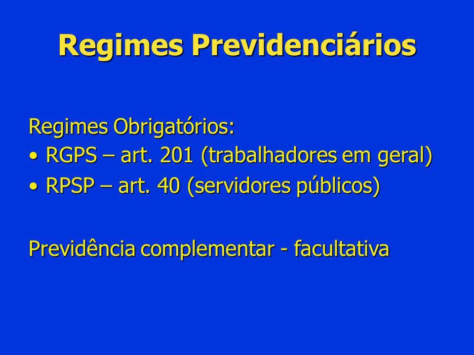 Regimes Previdenciários Regimes Obrigatórios: RGPS – art. 201 (trabalhadores em geral)RGPS – art. 201 (trabalhadores em geral) RPSP – art. 40 (servido