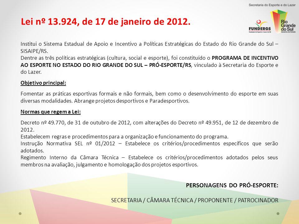 Lei nº 13.924, de 17 de janeiro de 2012.
