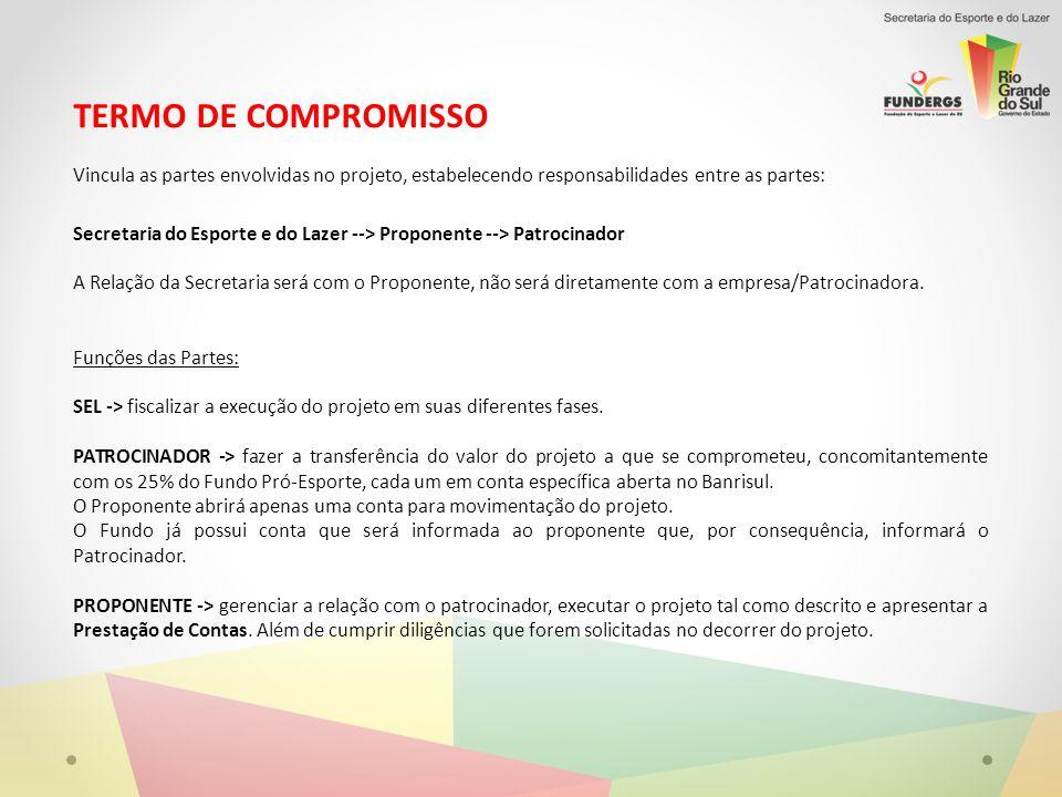 TERMO DE COMPROMISSO Vincula as partes envolvidas no projeto, estabelecendo responsabilidades entre as partes: Secretaria do Esporte e do Lazer --> Pr