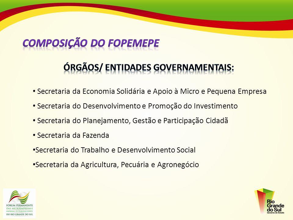 Secretaria da Economia Solidária e Apoio à Micro e Pequena Empresa Secretaria do Desenvolvimento e Promoção do Investimento Secretaria do Planejamento