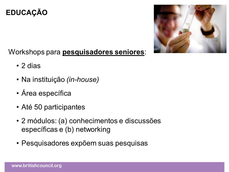 Workshops para pesquisadores seniores: 2 dias Na instituição (in-house) Área específica Até 50 participantes 2 módulos: (a) conhecimentos e discussões específicas e (b) networking Pesquisadores expõem suas pesquisas EDUCAÇÃO