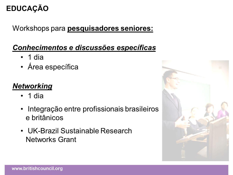 Workshops para pesquisadores seniores: Conhecimentos e discussões específicas 1 dia Área específica Networking 1 dia Integração entre profissionais brasileiros e britânicos UK-Brazil Sustainable Research Networks Grant EDUCAÇÃO